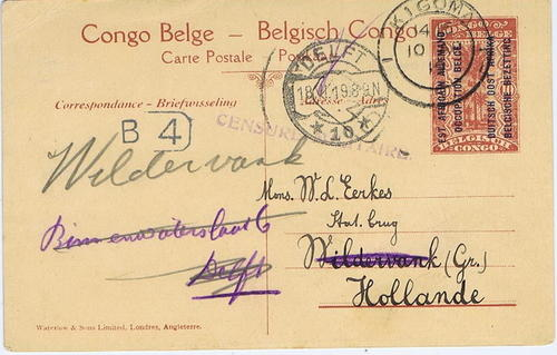 1919 Tanganyika / Belgium Congo Occupation
