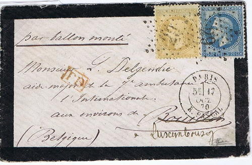 1870 France Ballon Monte Mourning cover